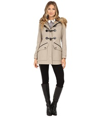 Marc New York Cara 30 Pressed Wool Toggle W Faux Fur Hood Oatmeal Women's Coat Brown