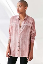 Silence And Noise Justine Dolman Button Down Shirt Pink