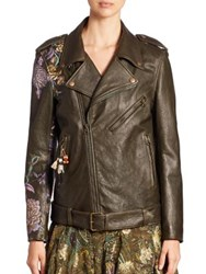Etro Floral Painted Brocade Detail Leather Jacket Green Multi