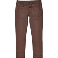 River Island Mens Brown Five Pocket Slim Fit Trousers