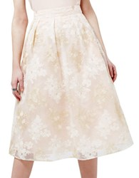 Miss Selfridge Embroidered Midi Skirt Beige