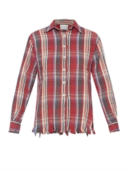R 13 Shredd Plaid Cotton Shirt