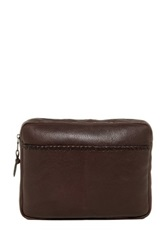 John Varvatos Moto Braid Small Leather Pouch Brown