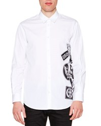 Dsquared Side Logo Graphic Long Sleeve Shirt White