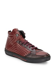 Versace Zipper Trimmed Quilted Leather High Top Sneakers Wine