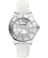 Versus By Versace Women's White Leather Strap Watch 38Mm Sh7150015 No Color