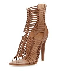 Sigerson Morrison Mella Strappy Leather Caged Sandal Medium Brown Leather