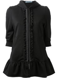 Guild Prime Zip Up Ruffle Fastening Peplum Hoodie Black