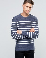 Esprit Crew Neck Breton Jumper With Raw Hem Dark Blue