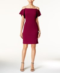 Msk Rhinestone Off The Shoulder Sheath Dress Merlot