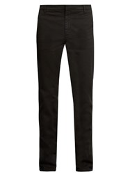 Kenzo Slim Leg Stretch Cotton Chino Trousers Black