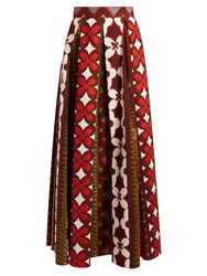 Valentino Cuban Flower Print Pleated Panama Skirt Red Multi