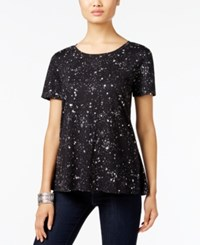 Styleandco. Style Co. Printed Swing Top Only At Macy's Galaxy Black