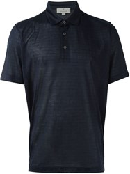 Canali Patterned Polo Shirt Blue