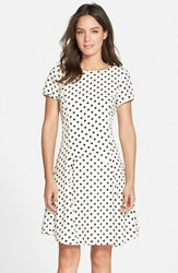 Kut From The Kloth Polka Dot Fit And Flare Dress Ivory Black