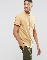 Asos Laundered Shirt In Camel With Grandad Collar In Short Sleeve Camel Brown