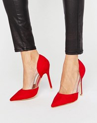Public Desire Keely Clear Detail Red Court Shoes Red