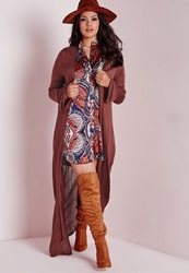 Missguided Plus Size Maxi Cardigan Rust Brown