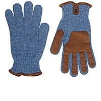 Barneys New York Men's Suede Trimmed Wool Gloves Blue