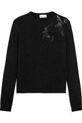 Red Valentino Redvalentino Sequined Knitted Sweater Black