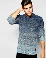 Blend Of America Blend Crew Jumper Slim Fit Graduated Melange Knit Navy