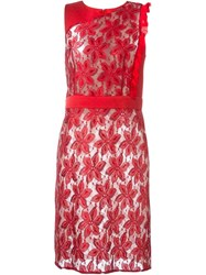 Emanuel Ungaro Floral Lace Fitted Dress Red