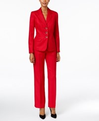 Le Suit Herringbone Three Button Pantsuit Red
