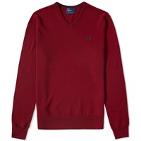 Fred Perry Classic V Neck Sweater Red
