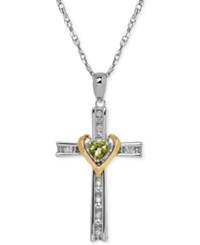 Macy's Peridot 1 4 Ct. T.W. And Diamond Accent Cross Pendant Necklace In Sterling Silver And 14K Gold