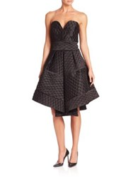 Milly Hexagon Patterned Pleated Gown Black