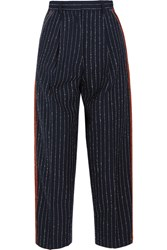 Acne Studios Milli Cropped Pinstriped Wool Blend Twill Straight Leg Pants Midnight Blue