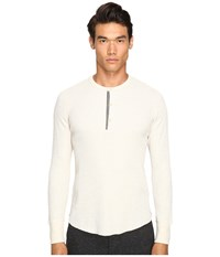 Todd Snyder Thermal Henley Oatmeal Men's T Shirt Brown