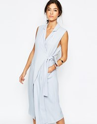 C Meo Collective Silk Love Stone Sleeveless Trench Shirt Dress In Sky Blue Sky