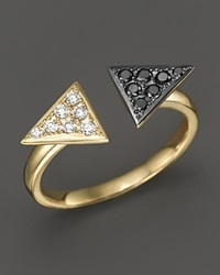 Bloomingdale's Black And White Diamond Arrowhead Ring In 14K Yellow Gold Gold Black