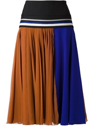 Bouchra Jarrar Colour Block A Line Skirt Brown