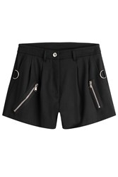 Moschino Virgin Wool Shorts With Zippers Black