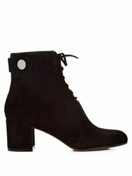 Gianvito Rossi Finlay Lace Up Suede Ankle Boots Black