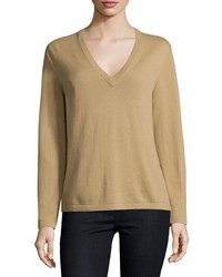 Michael Kors Long Sleeve V Neck Sweater Barley Brown