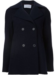 Harris Wharf London Double Breasted Peacoat Blue