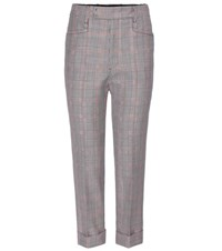 Miu Miu Cropped Check Trousers Black