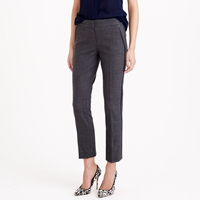 J.Crew Petite Campbell Capri Pant In Bi Stretch Wool With Leather Tuxedo Stripe