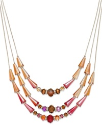 C.A.K.E. By Ali Khan Gold Tone Red Glass Bead Three Row Illusion Necklace