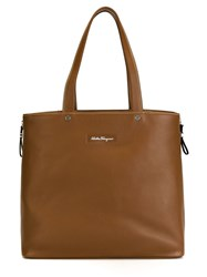 Salvatore Ferragamo Open Top Tote Brown