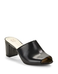 Anne Klein Carena Open Toe Leather Mules Black