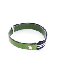 Gilbert Gilbert Hen 13 Green Leather Adjustable Bracelet And Stretch Band