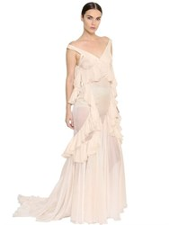 Francesco Scognamiglio Ruffled Sheer Silk Chiffon Long Dress
