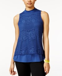 Self Esteem Juniors' Lace Mock Neck Top Aura Blue