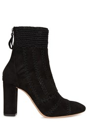 Alexandre Birman Black Suede And Crochet Ankle Boots