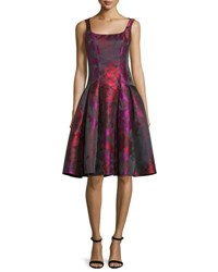 Carmen Marc Valvo Sleeveless Floral Taffeta Dress Fuchsia