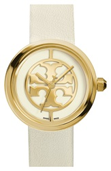 Tory Burch 'Reva' Logo Dial Leather Strap Watch 36Mm White Gold